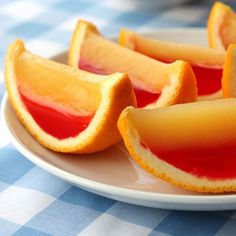 Vodka Sunrise Fruit Wedge Jelly Shots Recipe - Delish.com Looks cool but time consuming