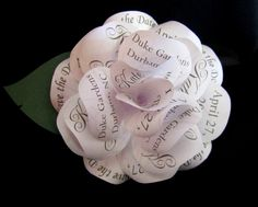 Save  the Date  Paper Rose Magnet   in Traditional Wedding Style.  via Etsy.