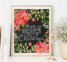 Merry little Christmas print decor wall art by LittleEmmasFlowers