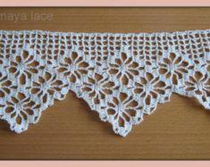"Items similar to Handmade crochet lace trim ""diamond"" ,ecru cotton, lace edges,filet lace on Etsy Filet Crochet, Annie's Crochet, Crochet Lace Edging, Crochet Borders, Crochet Trim, Crochet Doilies, Crochet Curtain Pattern, Crochet Curtains, Crochet Blanket Patterns"