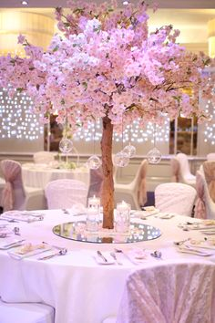 Pink Blossom tree table centres with glass bauble t-lights Blossom Tree Wedding, Pink Blossom Tree, Cherry Blossom Theme, Cherry Blossom Centerpiece, Quince Themes, Quince Decorations, Wedding Decorations, Quince Ideas, Tree Centrepiece Wedding