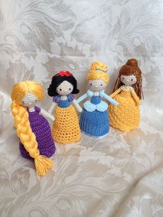 Crocheted princess dolls
