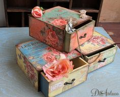 3 Wooden jewelry drawer decoupage drawer shabby chic by ArtDidi