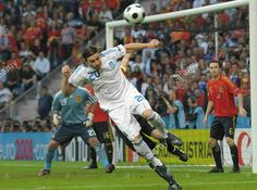 Spain 2 Greece 1 in 2008 in Salzburg. Giannis Amanatidis looks to get the flick on in Group D at Euro 2008.