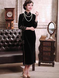 Black Ankle Length Velour Qipao / Cheongsam / Chinese Dress for Winter
