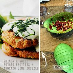 Flannerys Natural & Organic Supermarket - Quinoa and Sweet Potato Fritters with Avocado and Lime Drizzle.
