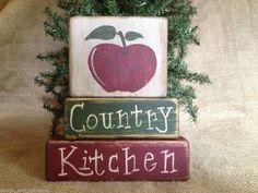 Primitive Apple Country Kitchen Home Decor Shelf Sitter Wood Block Set Scrap Wood Crafts, 2x4 Crafts, Wooden Crafts, Diy Arts And Crafts, Crafts To Do, Apple Kitchen Decor, Kitchen Ideas, Apple Painting, Home Decor Shelves