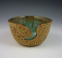 Coil-Built Pottery Yarn Bowl with Turquoise by KulshanClayworks