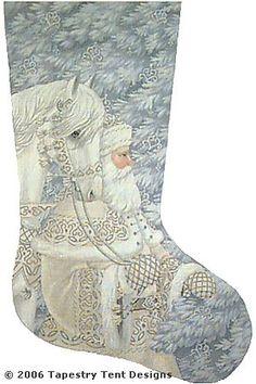 "Liz/Tapestry Tent ""Enchanted Santa"" stocking.  13"" x 21"" on 18 ct.  Originally $395. Asking $195.  Contact Ellen Daniels at ebdani@aol.com."