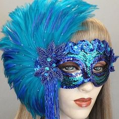 Jade Masquerade Mask by Gypsy Renaissance – Sequin face with beautiful feather … - Mask Making - Face Mask - Masquerade Mask - Mask Homemade Mardi Gras, Makeup At Home, Diy Masque, Flapper Headband, Hair And Beauty Salon, Beautiful Mask, Carnival Masks, Venetian Masks, Masks Art