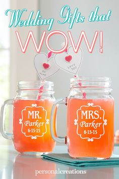 Perfect Pair Mason Drinking Jar!! A Personal Creations Exclusive! Perfect drinkware for the unpretentious newlyweds, our spirited Mason jar drinking mugs each hold a pint of their favorite brew. Now designed to accommodate hyphenated names. Save 15% today! *Offer expires 12/31/15