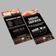 Opnieuw een grote reclamecampagne voor Bar & Restaurant Gebr. Wop. Ditmaal 10.000 Sushi flyers! 🍣🍣 www.omega-design.nl