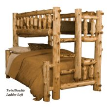Our American-made solid white cedar log bunk bed - twin over  full. Get 5% off on Black Friday through Cyber Monday. #logfurniture #logbeds