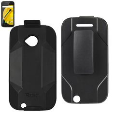 REIKO MOTOROLA MOTO E (2015) HYBRID HEAVY DUTY HOLSTER COMBO CASE IN BLACK