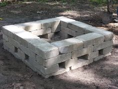 This is our 34x34 square fire pit.  Materials needed: 34- 7x14 Belgian wall bricks 6- Belgian wedge bricks 2 bags of pea gravel Shovel and a leveler *measure the area before you purchase bricks so that you get the correct amount of bricks needed* 1. Each brick should lay level on the ground and level with the brick next to it.  2.Lay the 6 wedge bricks on top of the previous bricks. These will create a good air flow. 3. Lay the remaining bricks on top. Now your ready for your fire.