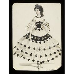 1860s (made) Design for a fancy-dress costume - Queen of Clubs Jules Helleu (designer)  Charles Frederick Worth, born 1825 - died 1895 (possibly, designed for)