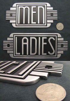 Deco Art -                                                              Art Deco Metal Restroom Ladies Men Sign Steampunk Machine Age | eBay