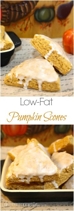 Moist and flavorful Low-fat Pumpkin Scones are cut into bite-sized treats! The Foodie Affair