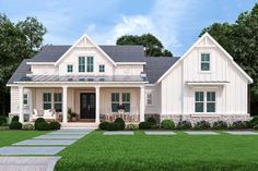 Plan One-Level Modern Farmhouse with Bonus Over Garage and Lower Level Expansion Living is easy in this impressive and generously-sized, multi-generational house plan with stunning Modern Farmhouse Plans, Farmhouse Homes, Farmhouse Style, Farmhouse Addition, American Farmhouse, Country Style House Plans, Country Style Homes, Ranch House Plans, House Floor Plans