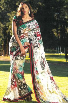 Traditional Printed Casual Saree; White and Robin Blue Faux Georgette Printed Casual and Party Saree