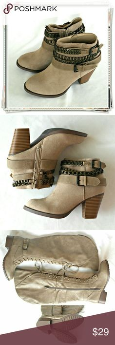 Brodie booties. Color - sand, taupe. Details: heel 3, fit TTS, faux suede. Shoe Dazzle Shoes Ankle Boots & Booties