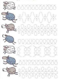 sheep writing pattern for preschool , free printable. Pre Writing, Writing Practice, Writing Skills, Preschool Writing, Preschool Worksheets, Childhood Education, Kids Education, Educational Activities, Preschool Activities