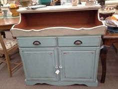 SOLD - This dry sink is painted in a two tone finish with new hardware. ***** In Booth H13 at Main Street Antique Mall 7260 E Main St (east of Power RD on MAIN STREET) Mesa Az 85207 **** Open 7 days a week 10:00AM-5:30PM **** Call for more information 480 924 1122 **** We Accept cash, debit, VISA, Mastercard, Discover or American Express