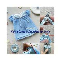 Blythe knitting dress pattern / Knit doll clothes TUTORIALS / Small knit dress for amigurumi, waldorf, textile, teddy / Doll dress pdf Doll Dress Patterns, Clothing Patterns, Knitting Stitches, Knitting Patterns, Little Cotton Rabbits, Romper Pattern, Purl Stitch, Mini Vestidos, Knitted Dolls