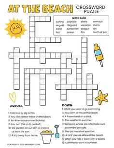 Free crossword puzzle printable for kids. Beach themed puzzle for ages 6-10. Challenging, brain buster activities for kids.