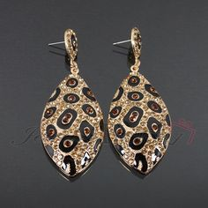 Leopard Print Rhinestone Fashion Earrings