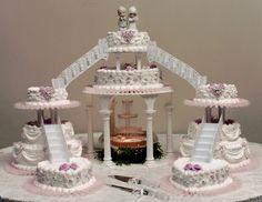 mc arthurs bakery wedding cake with fountains and bridges