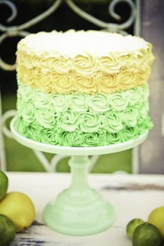 Yellow/green pastel cake, pastel yellow, pastel green, rosettes in frosting, Kara's Party Ideas