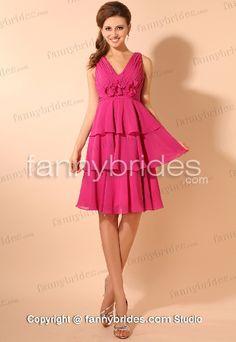 Knee-length V-neck Chiffon Fuchsia Charming Cocktail Gown - Fannybrides.com