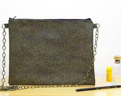 Fashion Clutch Bag, Crossbody Bag, Gold Evening Bag, Shoulder Clutch, Unique Clutch, Black and Gold colors.