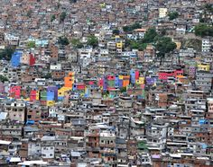 View of the Rocinha shantytown in Rio de Janeiro, Brazil. Since Rocinha's 'pacification' by authorities in November, several houses have been repainted in bright colours.