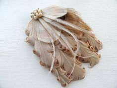MAUREEN Ivory Bronze and Beige Peacock Feather by Lucyohlucy, $32.50