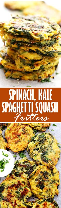 Spinach, Kale and Spaghetti Squash Fritters | www.diethood.com | Flavorful, healthy, quick and easy baked fritters with spinach, kale, and spaghetti squash.