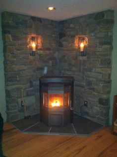 New wood burning fireplace remodel pellet stove ideas Wood Stove Surround, Wood Stove Hearth, Stove Fireplace, Fireplace Remodel, Wood Burner, Fireplace Design, Fireplace Ideas, Wood Burning Stove Corner, Corner Stove