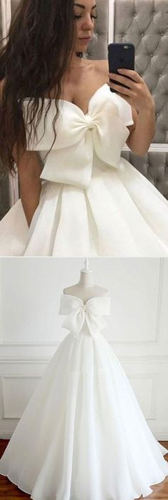 Cute White Big Bowknot Prom Dress,Strapless Evening Dress,Satin simple a-line white Party Dress - 2020 New Prom Dresses Fashion - Fashion Of The Year Trendy Dresses, Nice Dresses, Short Dresses, Formal Dresses, Bow Dresses, Dress Long, Strapless Prom Dresses, Prom Dresses 2017, Lace Bridesmaids