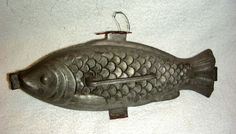 Antique Banquet Size Pewter Ice Cream Mold ... Fish