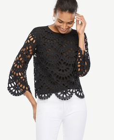 Shop Ann Taylor for effortless style and everyday elegance. Our Petite Scalloped Eyelet Top is the perfect piece to add to your closet.