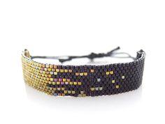 Black Beaded Bracelet Adjustable Cord Bracelet by JeannieRichard, $80.00