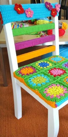 Level 21 (each chair is probably different, most people would have to make up own pattern to fit their own chair) - Crochet - might paint rather than wrap with yarn for cleaning purposes, but really cute idea!
