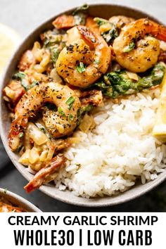 paleo recipes Ive got a fabulous, one pan wonder for you in the form of one pan creamy garlic shrimp. This dish can be whipped up in under 30 minutes and is wonderful for the whole family. It is gluten free, paleo, low carb and compliant, too! Paleo Whole 30, Whole 30 Recipes, Paleo Dinner, Healthy Dinner Recipes, Best Paleo Recipes, Healthy Breakfasts, Clean Eating Snacks, Healthy Eating, Sin Gluten