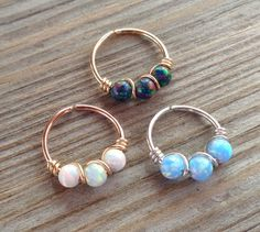 Septum Ring Fire Opal Wrapped Endless by PavlosHandmadeStudio