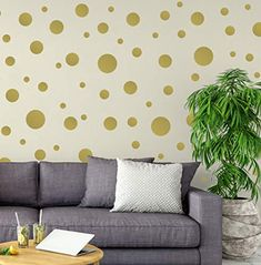 Living room Baby room or Windows. Bedroom Metallic Playroom Waterproof and Removable for the Nursery Trendy {Pack of 64} 2 Vinyl Gold Polka Dots Wall Decal Stickers