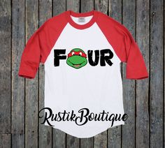 Ninja Turtle Fourth Birthday Raglan Shirt