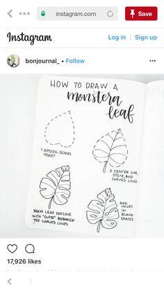 Monstera leaf Hole Drawing, Leaf Drawing, Leaves Doodle, Leaf Outline, Botanical Line Drawing, Cartoon Drawing Tutorial, Journal Design, Bullet Journal Inspo, Doodle Drawings