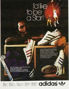 This is a 1973 print ad found in Ebony Magazine. I Love cool old ads like this, i'd love a new pair of those too! Adidas Zx, Adidas Samba, Adidas Sneakers, Adidas Superstar Vintage, Adidas Busenitz, Adidas Retro, Vintage Adidas, Fashion Advertising, Posters