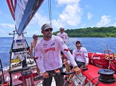 Mike Pammenter, Stuart Bannatyne, Rob Salthouse and Andy McLean leaving the Solomon Islands behind onboard CAMPER with Emirates Team New Zealand during leg 4 of the Volvo Ocean Race 2011-12, from Sanya, China to Auckland, New Zealand.